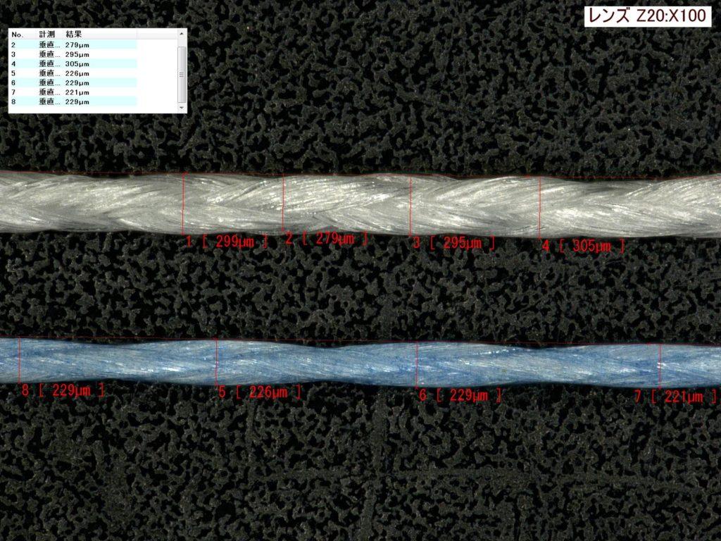 激安PEラインと国産ラインの直径比較